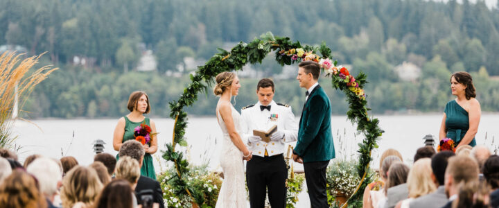 Music masters DJs a wedding at Kiana Lodge in Poulsbo